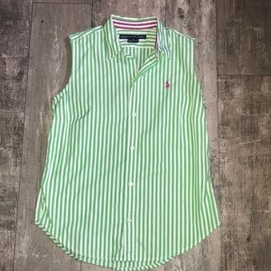 Ralph Lauren green and white stripped top